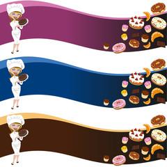 Fondo mujer pastelera y pastelería