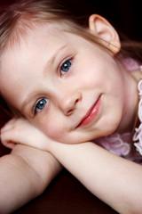 Portrait of happy joyful beautiful little girl