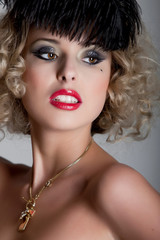 Vintage styled portrait of beautiful woman