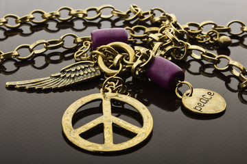 Peace sign in necklace