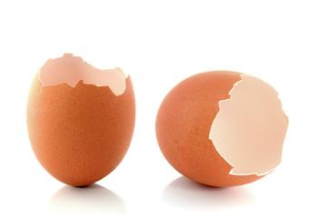Broken eggshell ,isolated on white