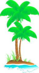 isolated cartoon tropical island with wave, sea, palm and grass
