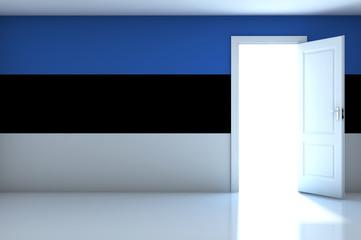 Estonia Flag on empty room