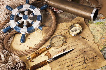 Vintage navigation equipment, compass and other instruments