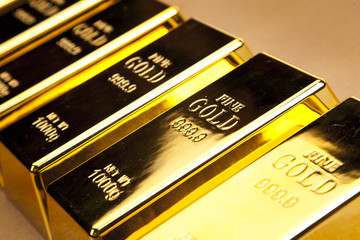 Gold bars photo, studio shots, closeup