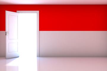 Monaco flag on empty room