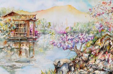 watercolor of hangzhou, china (west lake)