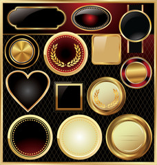Empty golden medallion - set