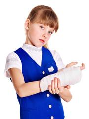 Child with broken arm.