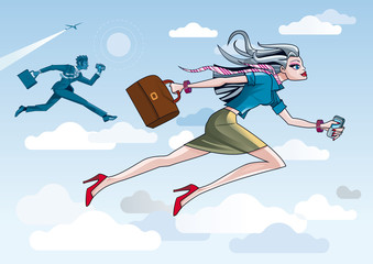 Business Woman Running Through Clouds