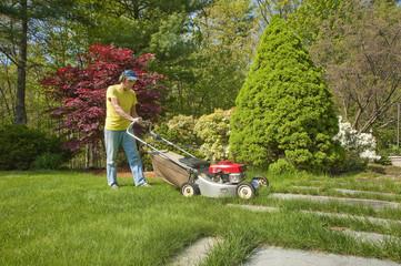 Cutting grass in spring