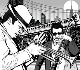 Aluminium Prints Music Band jazz in New York