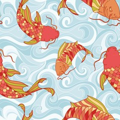 Colorful fish in the sea waves seamless pattern