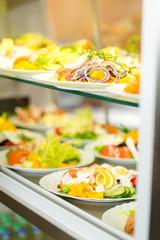 Self service buffet fresh healthy salad selection