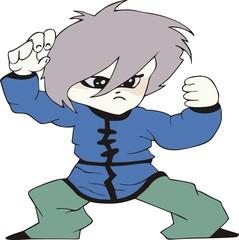Boy as martial arts fighter. Cartoon