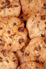 Close up of blurred cookies laid out together