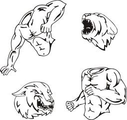 Vector set of mascot templates