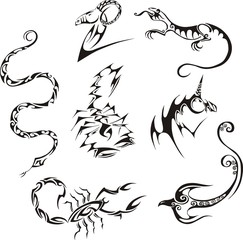 Stylized creatures. Vector set