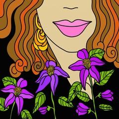 viso con fiori viola