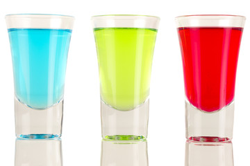 Shots - 3 shot glasses filled with colourful drinks