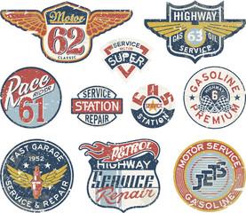 Gasoline station vintage vector badges
