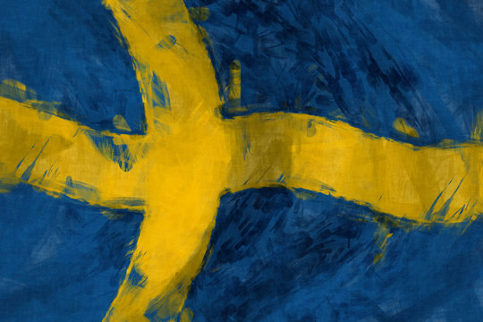 Flag of Sweeden abstract painting background