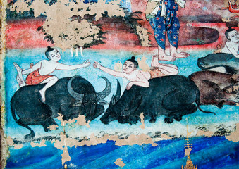The Ancient painting of buddhist temple mural  at Wat Phra sing,