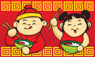 Chinese Kids Eating