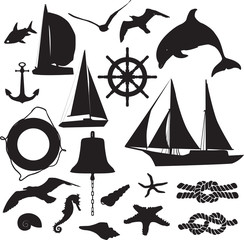 set of silhouettes symbolizing the marine leisure
