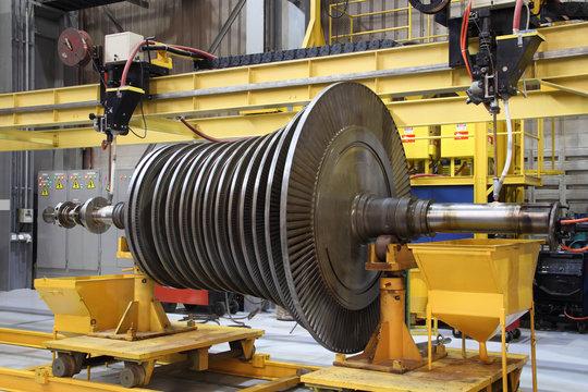 Industrial steam turbine at the workshop