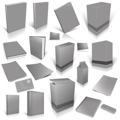 Grey 3d blank cover collection