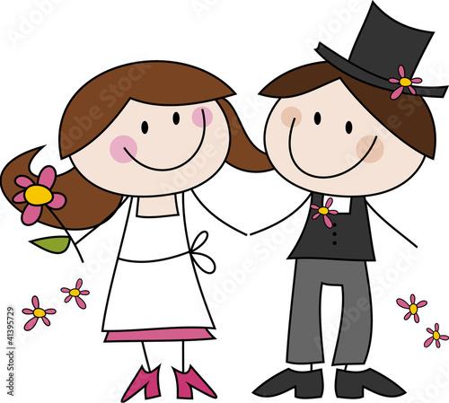 Cartoon Zeichnung Frohliches Hochzeitspaar Stockfotos Und