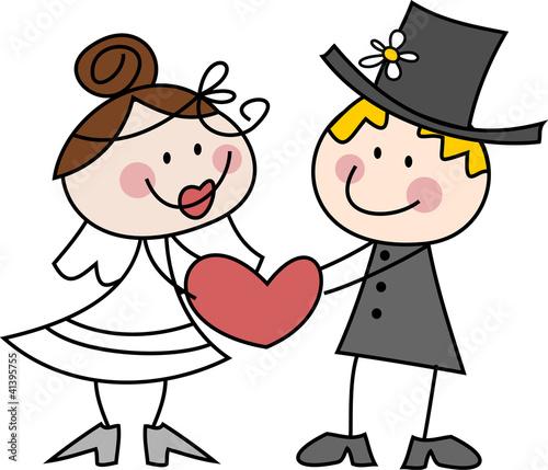 Cartoon Zeichnung Witziges Brautpaar Mit Herz Stockfotos Und