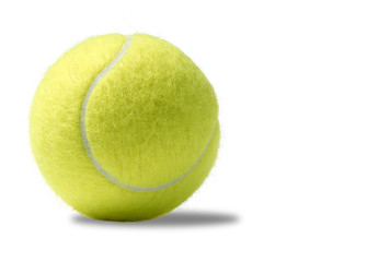 yellow tennis ball on a white background