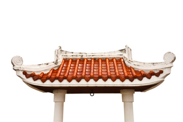 Gate of Buddhist temple on white background