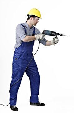 Handwerker mir Bohrmaschine