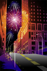 firework in the city