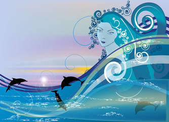 girl and dolphins in sea waves