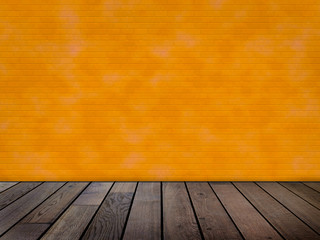 Raum mit oranger Ziegelwand (Wischtechnik)  und Holzfußboden
