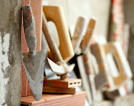 Construction mason cement mortar tools