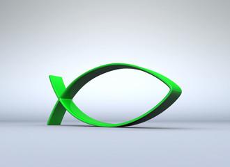 Grünes Fisch-Symbol auf grau 07