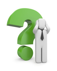 Businessman with green question mark