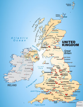 Umgebungskarte United Kingdom in orange