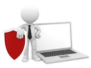 Businessman with shield and laptop. Internet security concept.