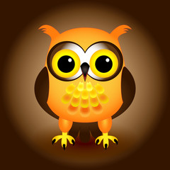 Cartoon orange owl