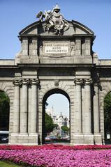 Detail of Puerta de Alcalá (Alcala Gate) in Madrid, Spain