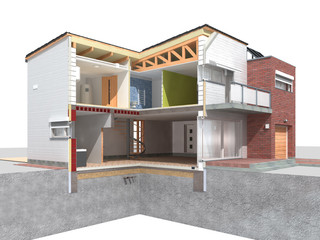 Modern house in the section on white background