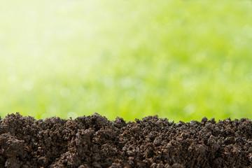 Fototapeta Pile of soil against green defocused background with copy space obraz