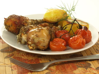 Roasted dish with chicken