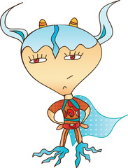 Мультяшный забавный персонаж - Супер герой